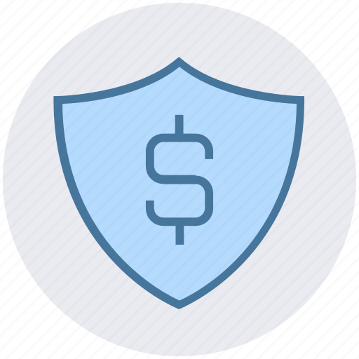 dollar, finance, insurance, money, safe, security, shield icon