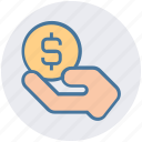 coin, coin on hand, hand and coin, hand holding dollar, hand with dollar, money, share icon