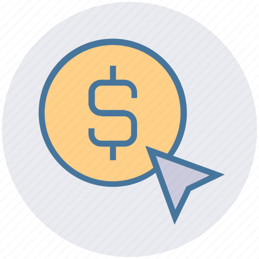 banking, click, coin, dollar, finance, pay per click icon