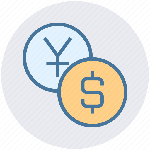 cash, coins, dollar, dollar coin, finance, yen, yen coin icon