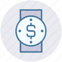 dollar, hand watch, time, time is money, watch, wrist watch icon