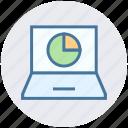 chart, diagram, finance, laptop, network, notebook, pie chart icon