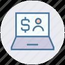 dollar, finance, laptop, laptop pc, online banking, online business, user icon