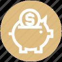 bank, box, coin, money, pig, piggy, saving