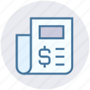 bank, document, dollar sign, finance, money, newspaper icon