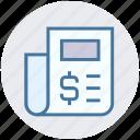 bank, document, dollar sign, finance, money, newspaper icon