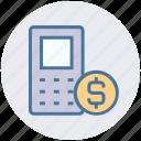 coin, dollar, dollar sign, keypad, mobile, phone, sms icon