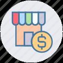building, dollar, finance, money, shop, sign, store icon