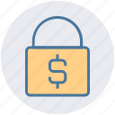dollar, finance, lock, lock and security, locked, sign icon