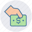 cash, cash on hand, hand and note, hand holding dollar, hand with dollar, money, share icon