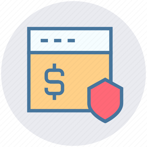 currency, dollar, online, security, shield, webpage icon