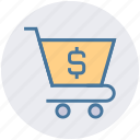 buy, cart, dollar, money, sell, shopping, sign icon