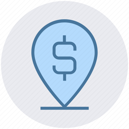 atm, bank location, dollar sign, location pin, map pin icon