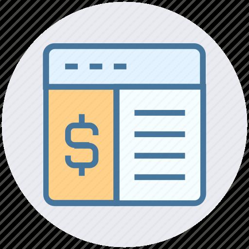 currency, dollar, internet, online, webpage, window icon