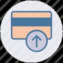 atm card, credit card, debit card, payment method, up arrow, visa card icon