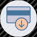 atm card, credit card, debit card, down arrow, payment method, visa card icon