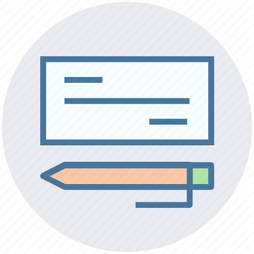 banking, checkbook, finance, paper, payment, pencil icon
