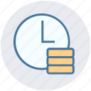 alarm, clock, coins, dollar, money, time, time is money icon