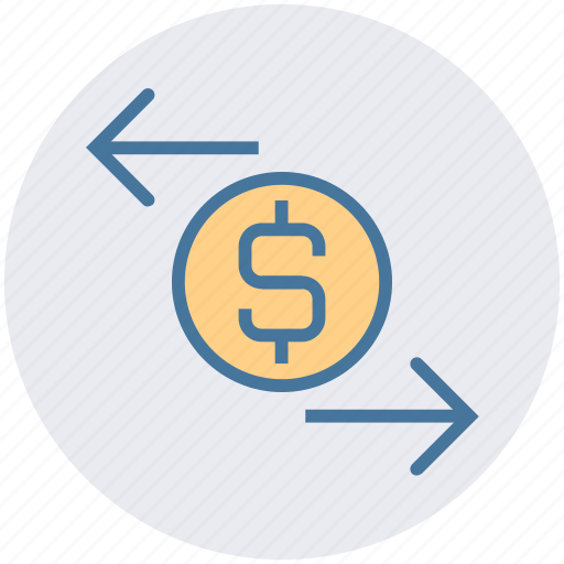 arrows, business, coin, dollar, finance, right left arrows icon