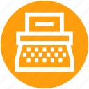 article, content, print, submission, text, typewriter, writer icon