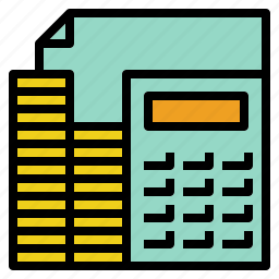 accounting, calculation, coin, documtn, tax icon