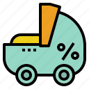 baby, care, cart, children, tax icon
