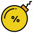 bomb, debt, interest, percent, rate icon