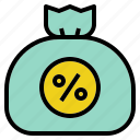 bag, cash, money, percent, tax icon
