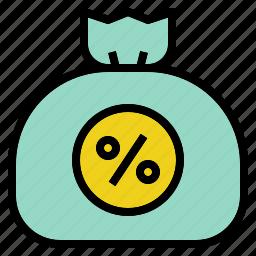 bag, cash, money, percent, tax icon