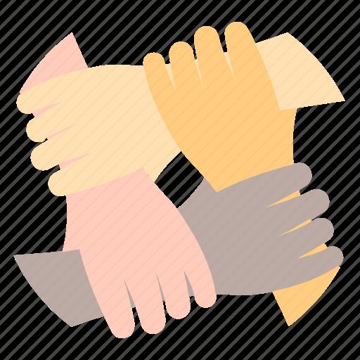business, finance, hands, teamwork icon