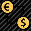 conversion, dollar, euro, finance icon