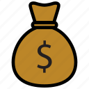 bag, coins, finance, money icon