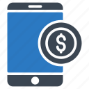 finance, mobile, online, pay, phone icon