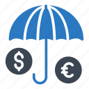 umbrella, currency, protection, dollar, euro icon