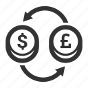 convertion, currency exchange, dollar, forex, pound, sterling, trade icon