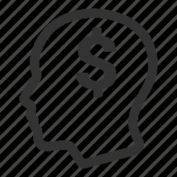 business idea, entrepreneur, greed, head, money icon