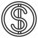 circle, coin, dollar, finance, money icon