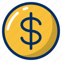 business, currency, dollar, finance, monetory, money, payment icon