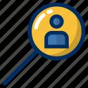 business, employee, hunt, magnifier, office, user, worker