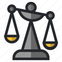 balance, court, judge, justice, law, legal, scale icon