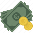cash, coin, coins, currency, euro, money icon