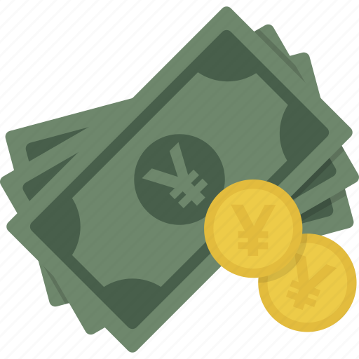 cash, coin, coins, currency, money, yen icon