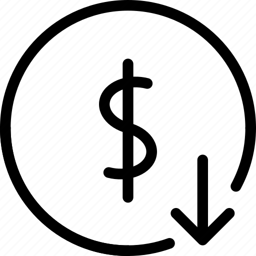 dollar, down, finance icon
