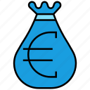 bag, cash, currency, euro, money icon