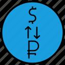 conversion, dollar, money, ruble, transaction icon