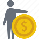 businessman, cash, coin, finance, money, price, value icon