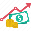 analytics, chart, finance, growth, income, money, value icon