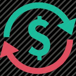 banking, dollar, economy circle, exchange, finance, money, refund icon