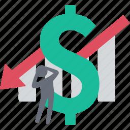 analytics, arrow down, finance, graph, money, statistics, stock icon