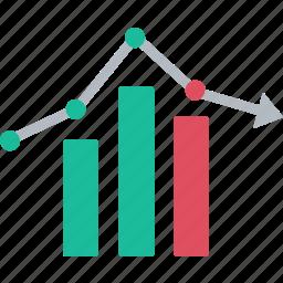 arrow down, diagram, finance, graph, increase, statistic, stock icon